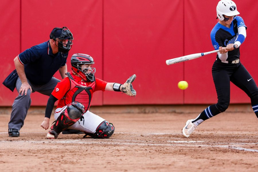 University of Utah sophomore catcher Kelly Martinez (22) catches the ball during an NCAA Softball game vs the BYU Cougars at Dumke Family Softball Stadium in Salt Lake City, UT on Wednesday April 18, 2018.  (Photo by Curtis Lin/ Daily Utah Chronicle)