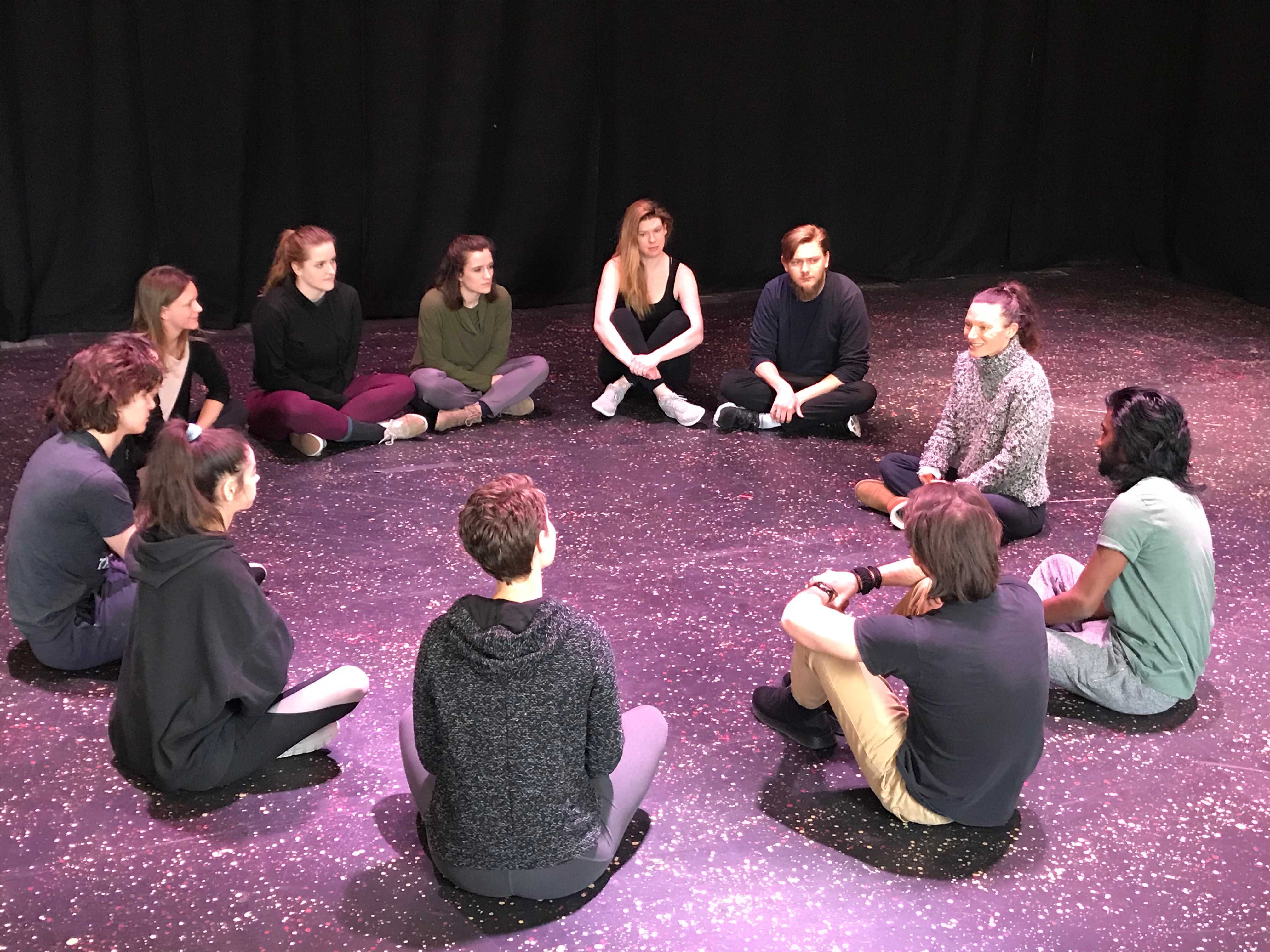 Students participate in the Camille Litalien master class, courtesy Salt Lake Acting Company.