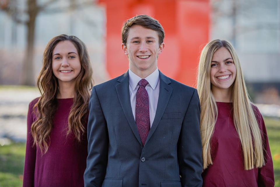 The ASUU executive branch for the 2018-19 academic year. From left to right, former vice president of student relations Xandra Pryor, president Connor Morgan, vice president of university relations Maggie Gardner. Courtesy of the Morgan ticket.