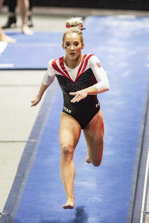 University of Utah women's gymnastics Mykayla Skinner performs on the vault in the Red Rocks preview at the Jon M. Hunstman Center in Salt Lake City, UT on Friday, Dec. 7, 2018.  (Photo by: Justin Prather | The Daily Utah Chronicle).