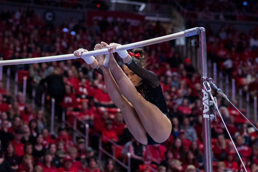 University of Utah junior Missy Reinstadtler performs her bar routine in an NCAA Women's Gymnastics meet vs. UCLA at Jon M. Huntsman Center in Salt Lake City, UT on Saturday February 23, 2019.  (Photo by Curtis Lin | Daily Utah Chronicle)