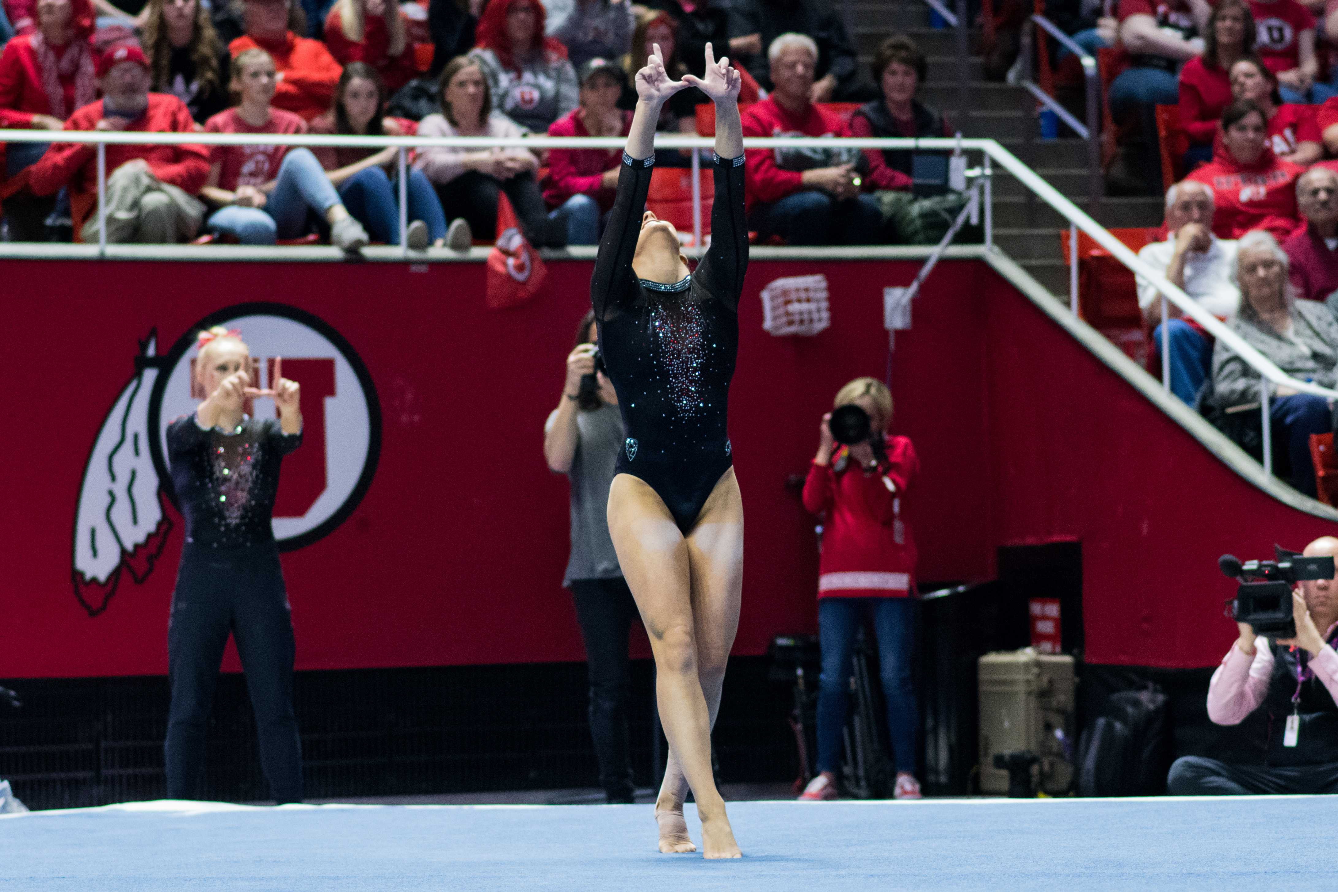 University of Utah junior Mykayla Skinner performed her floor routine in an NCAA Women's Gymnastics meet vs. UCLA at Jon M. Huntsman Center in Salt Lake City, UT on Saturday February 23, 2019.  (Photo by Curtis Lin | The Daily Utah Chronicle)