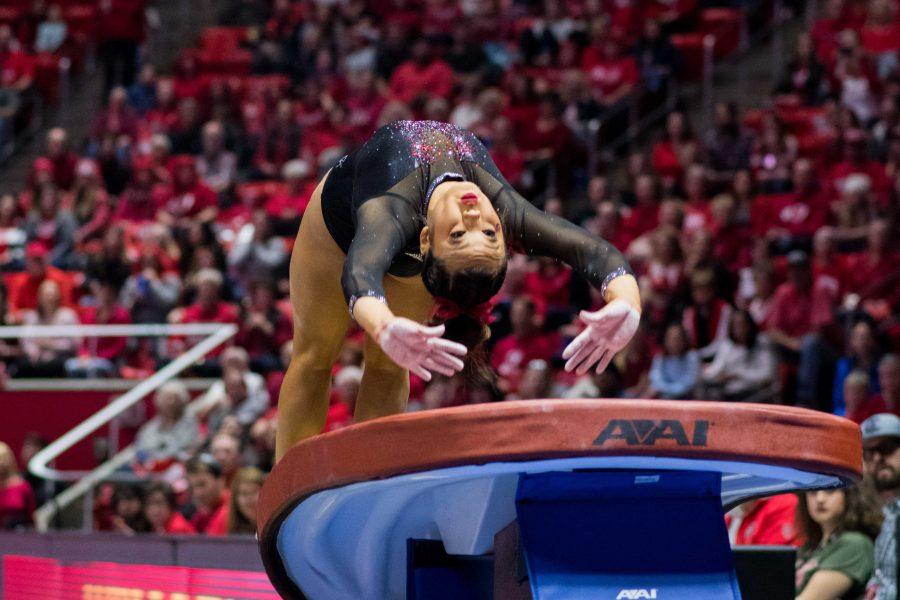 University of Utah senior Kari Lee performed on the vault NCAA Women's Gymnastics meet vs. UCLA at Jon M. Huntsman Center in Salt Lake City, UT on Saturday February 23, 2019.  (Photo by Curtis Lin | The Daily Utah Chronicle)