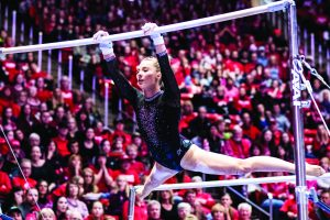 University of Utah junior Mykayla Skinner performs her bar routine in an NCAA Women's Gymnastics meet vs. UCLA at Jon M. Huntsman Center in Salt Lake City, UT on Saturday February 23, 2019.  (Photo by Curtis Lin | The Daily Utah Chronicle)