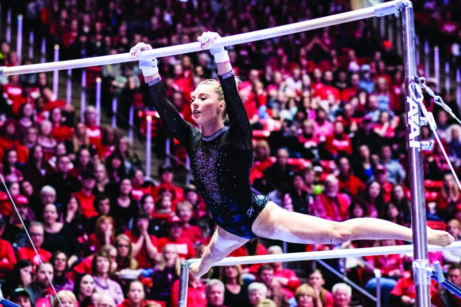 University+of+Utah+junior+Mykayla+Skinner+performs+her+bar+routine+in+an+NCAA+Women%27s+Gymnastics+meet+vs.+UCLA+at+Jon+M.+Huntsman+Center+in+Salt+Lake+City%2C+UT+on+Saturday+February+23%2C+2019.%0A%0A%28Photo+by+Curtis+Lin+%7C+The+Daily+Utah+Chronicle%29