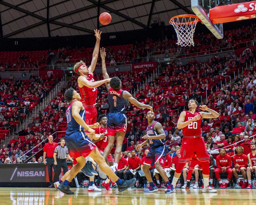 University+of+Utah+junior+forward%2Fcenter+Jayce+Johnson+%2834%29+shoots+over+University+of+Arizona+freshman+guard+Doutrive%2C+Devonaire+%281%29+during+an+NCAA+Basketball+game+at+the+Jon+M.+Huntsman+Center+in+Salt+Lake+City%2C+Utah+on+Thursday%2C+Feb.+14%2C+2019.+%28Photo+by+Kiffer+Creveling+%7C+The+Daily+Utah+Chronicle%29