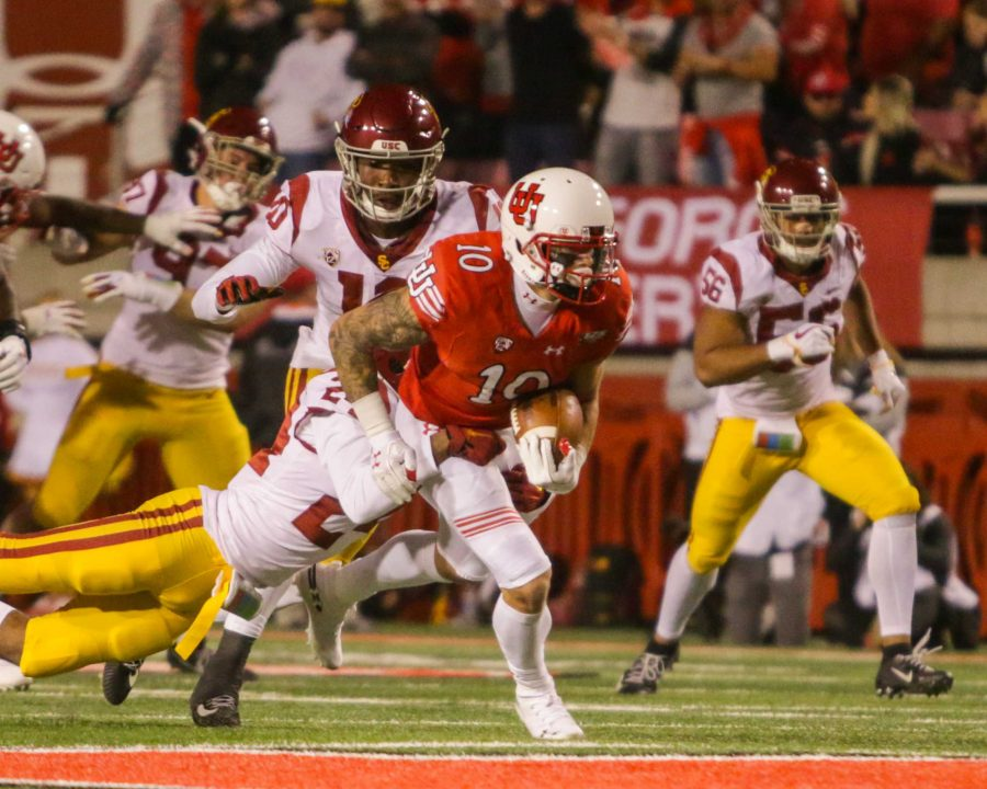 University of Utah senior wide receiver Jameson Field (10) ran after a catch during an NCAA Football game vs. USC Trojans at Rice-Eccles Stadium in Salt Lake City, UT on Saturday, Oct. 20, 2018.  (Photo by Curtis Lin | Daily Utah Chronicle)