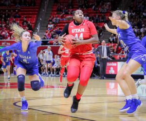 DRE'UNA EDWARDS (44) takes the ball to the hoop as The University of Utah Lady Utes take on Brigham Young University at the Huntsman Center in Salt Lake City, UT on Saturaday, Dec. 8, 2018 (Photo by Cassandra Palor | Daily Utah Chronicle)
