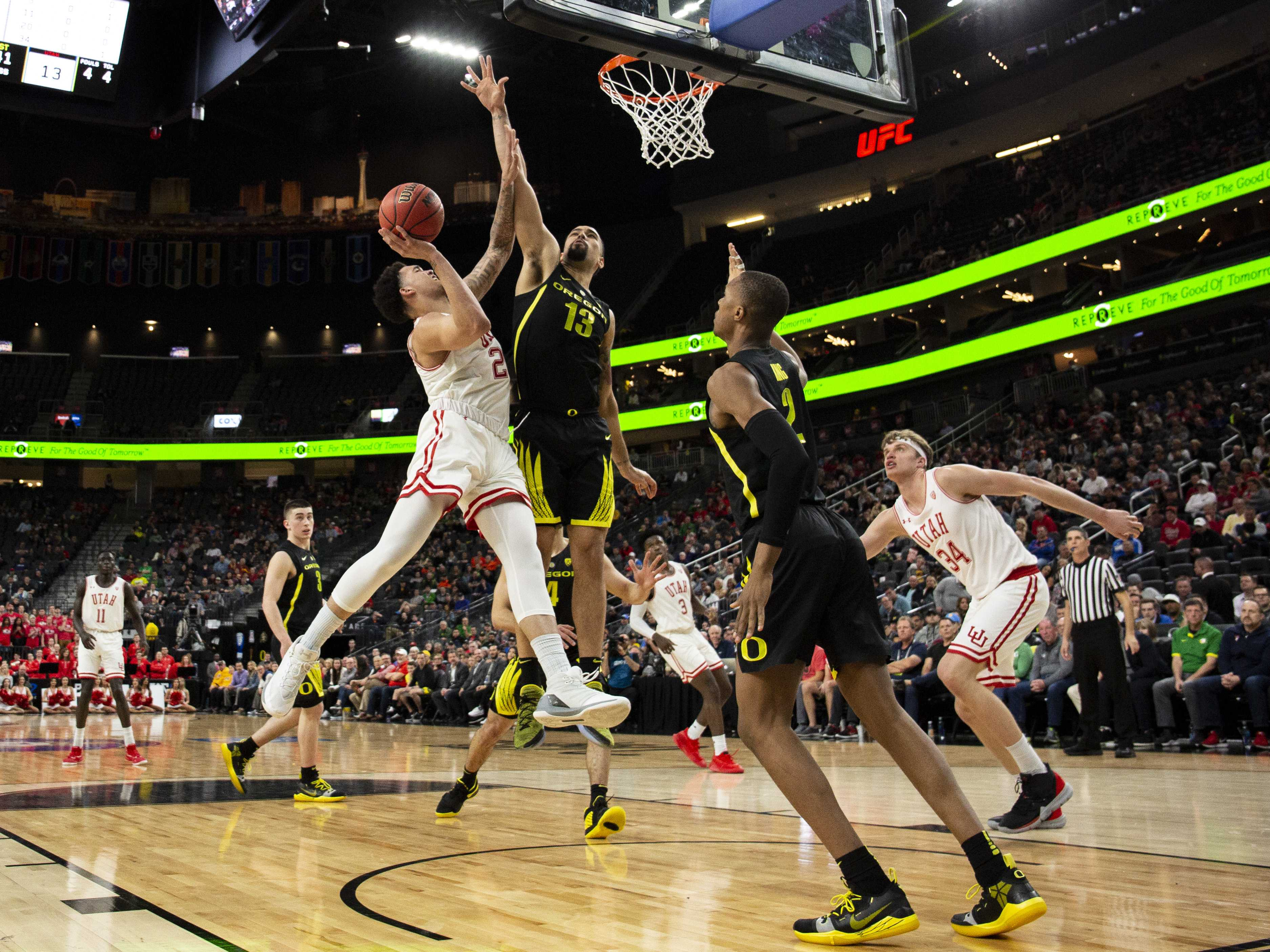University of Utah freshman forward Timmy Allen goes for two in a quarterfinal game against the Oregon Ducks at the 2019 Pac-12 tournament.   (Photo by: Justin Prather | The Daily Utah Chronicle).