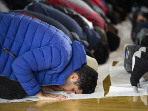 The Muslim Student Association held a Friday prayer in the Union ballroom to honor victims of the Christchurch mosque shootings.  (Photo by: Justin Prather | The Daily Utah Chronicle).