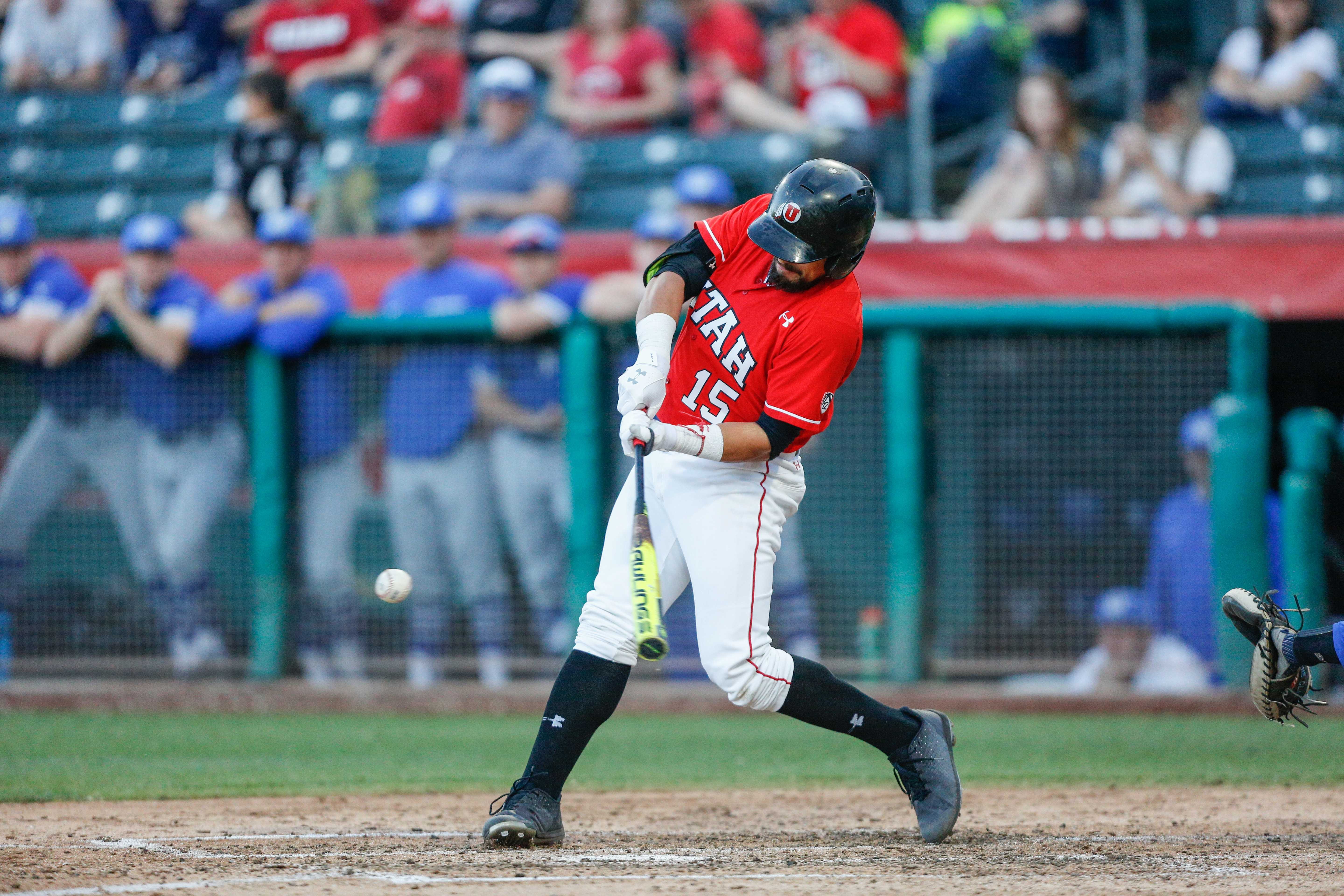Erick Migueles (15) takes a cut as the Utes take on the BYU Cougars at Smith's Ballpark May 8, 2018.  (Photo by: Justin Prather | The Daily Utah Chronicle).