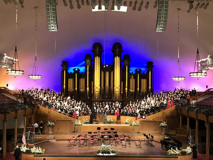 Choirs from the U perform with various high school choirs from Utah. courtesy University of Utah Choirs