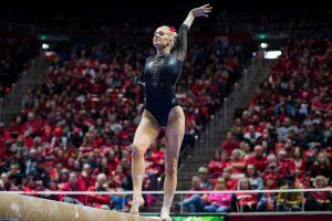 University of Utah senior Makenna Merrell-Giles performed her beam routine in an NCAA Women's Gymnastics meet vs. UCLA at Jon M. Huntsman Center in Salt Lake City, UT on Saturday February 23, 2019.  (Photo by Curtis Lin | Daily Utah Chronicle)