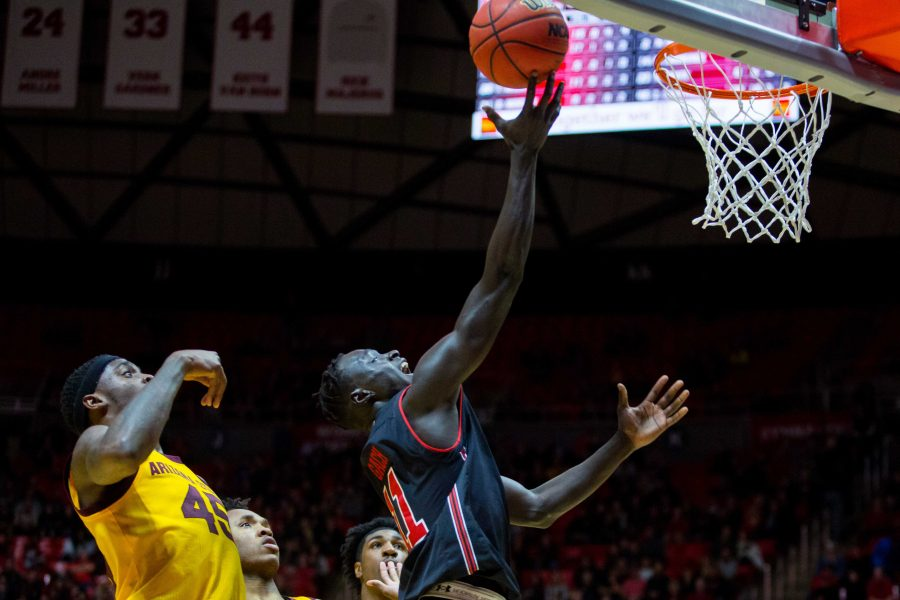 University+of+Utah+freshman+forward+Both+Gach+%2811%29+scored+a+layup+in+an+NCAA+Men%27s+Basketball+game+vs.+Arizona+State+at+Jon+M.+Huntsman+Center+in+Salt+Lake+City%2C+UT+on+Saturday+February+16%2C+2019.%0A%0A%28Photo+by+Curtis+Lin+%7C+Daily+Utah+Chronicle%29