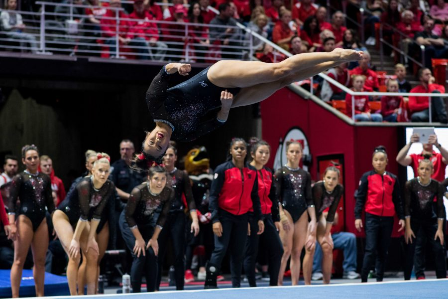 University+of+Utah+senior+Kari+Lee+performed+her+floor+routine+in+an+NCAA+Women%27s+Gymnastics+meet+vs.+UCLA+at+Jon+M.+Huntsman+Center+in+Salt+Lake+City%2C+UT+on+Saturday+February+23%2C+2019.%0A%0A%28Photo+by+Curtis+Lin+%7C+The+Daily+Utah+Chronicle%29