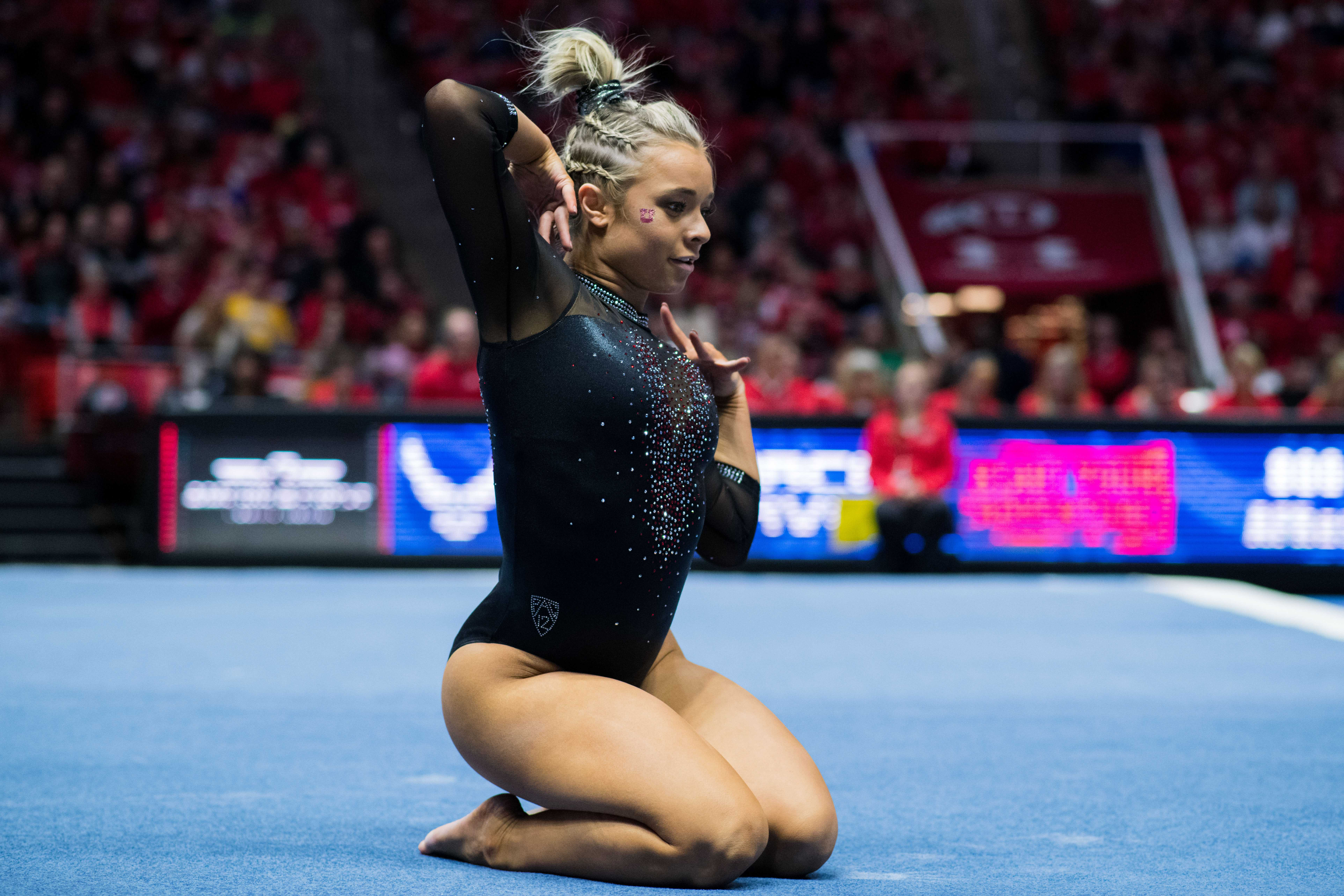 University of Utah sophomore Sydney Soloski performed her floor routine in an NCAA Women's Gymnastics meet vs. UCLA at Jon M. Huntsman Center in Salt Lake City, UT on Saturday February 23, 2019.  (Photo by Curtis Lin | Daily Utah Chronicle)