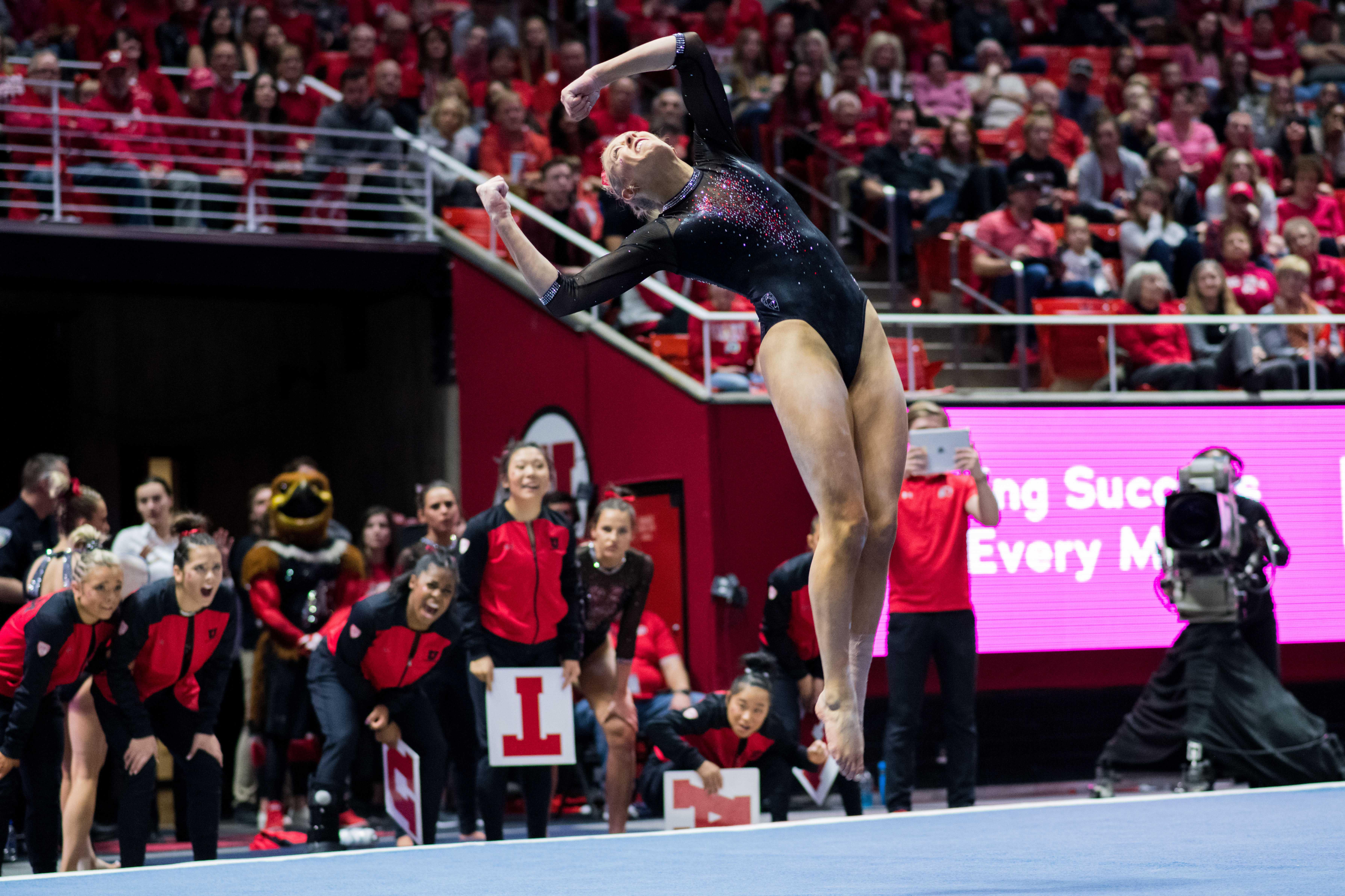 University of Utah senior Makenna Merrell-Giles performed her floor routine in an NCAA Women's Gymnastics meet vs. UCLA at Jon M. Huntsman Center in Salt Lake City, UT on Saturday February 23, 2019.  (Photo by Curtis Lin | Daily Utah Chronicle)