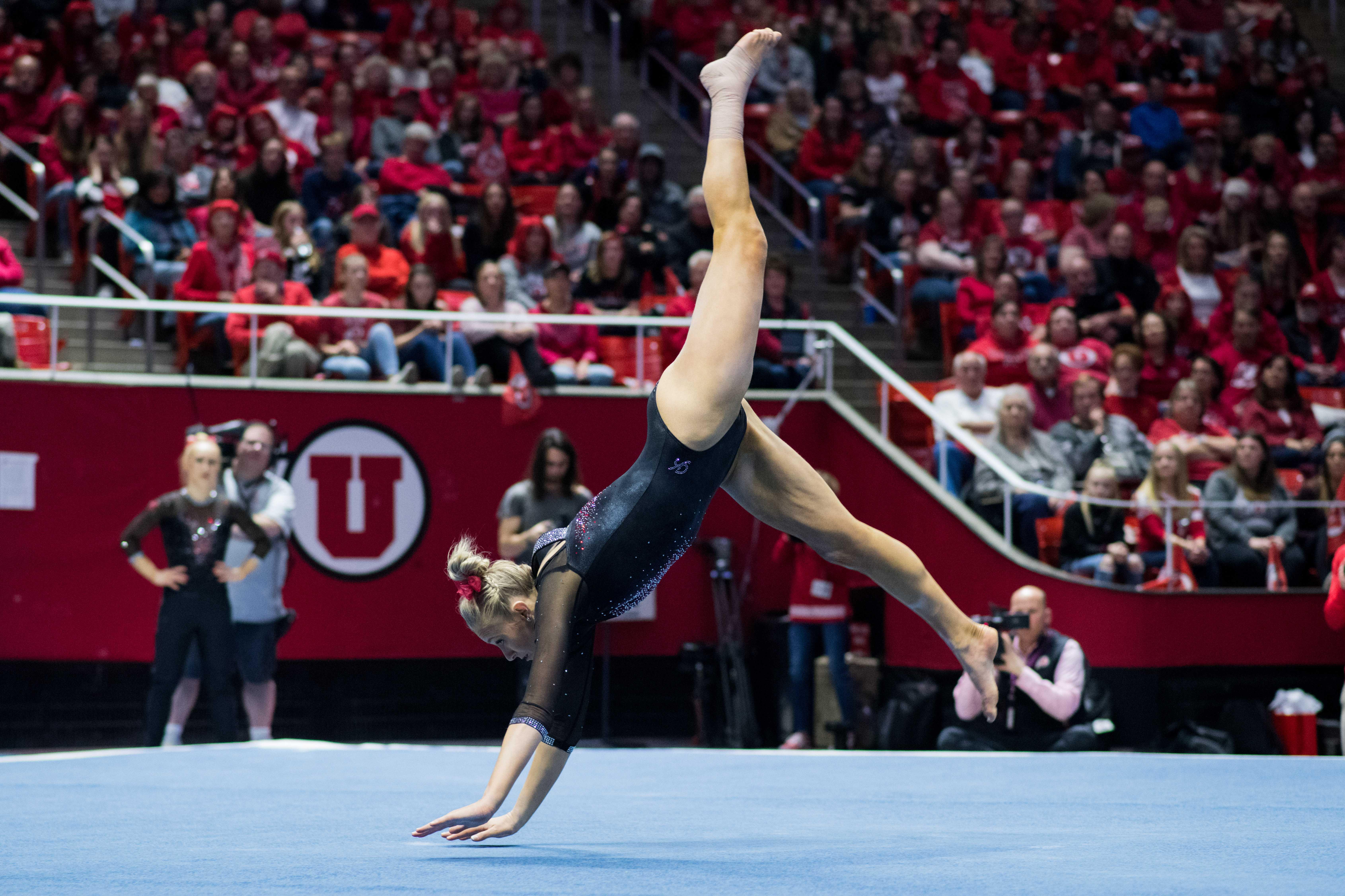University of Utah senior Makenna Merrell-Giles performs her floor routine in an NCAA Women's Gymnastics meet vs. UCLA at Jon M. Huntsman Center in Salt Lake City, UT on Saturday February 23, 2019.  (Photo by Curtis Lin   The Daily Utah Chronicle)