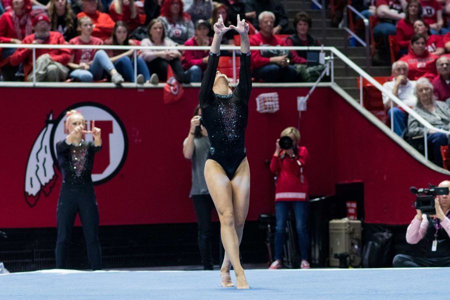 University of Utah junior Mykayla Skinner performed her floor routine in an NCAA Womens Gymnastics meet vs. UCLA at Jon M. Huntsman Center in Salt Lake City, UT on Saturday February 23, 2019.  (Photo by Curtis Lin | Daily Utah Chronicle)