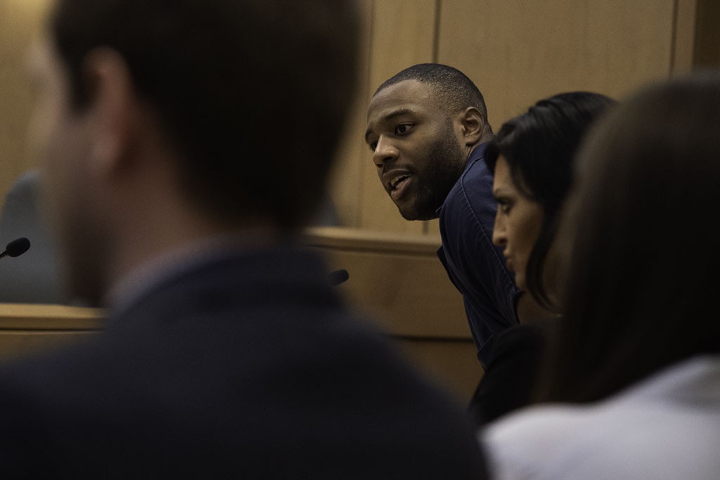 Torrey Green enters the court room early Wednesday at his sentencing. Green was found guilty of eight charges including five counts of rape and a charge sexual battery in connection to reports from six women accusing him of sexual assault while he was a football player at Utah State University, Wednesday, Mar. 27, 2019 in Brigham City, Utah. (Courtesy of Chantelle McCall | The Utah Statesman)