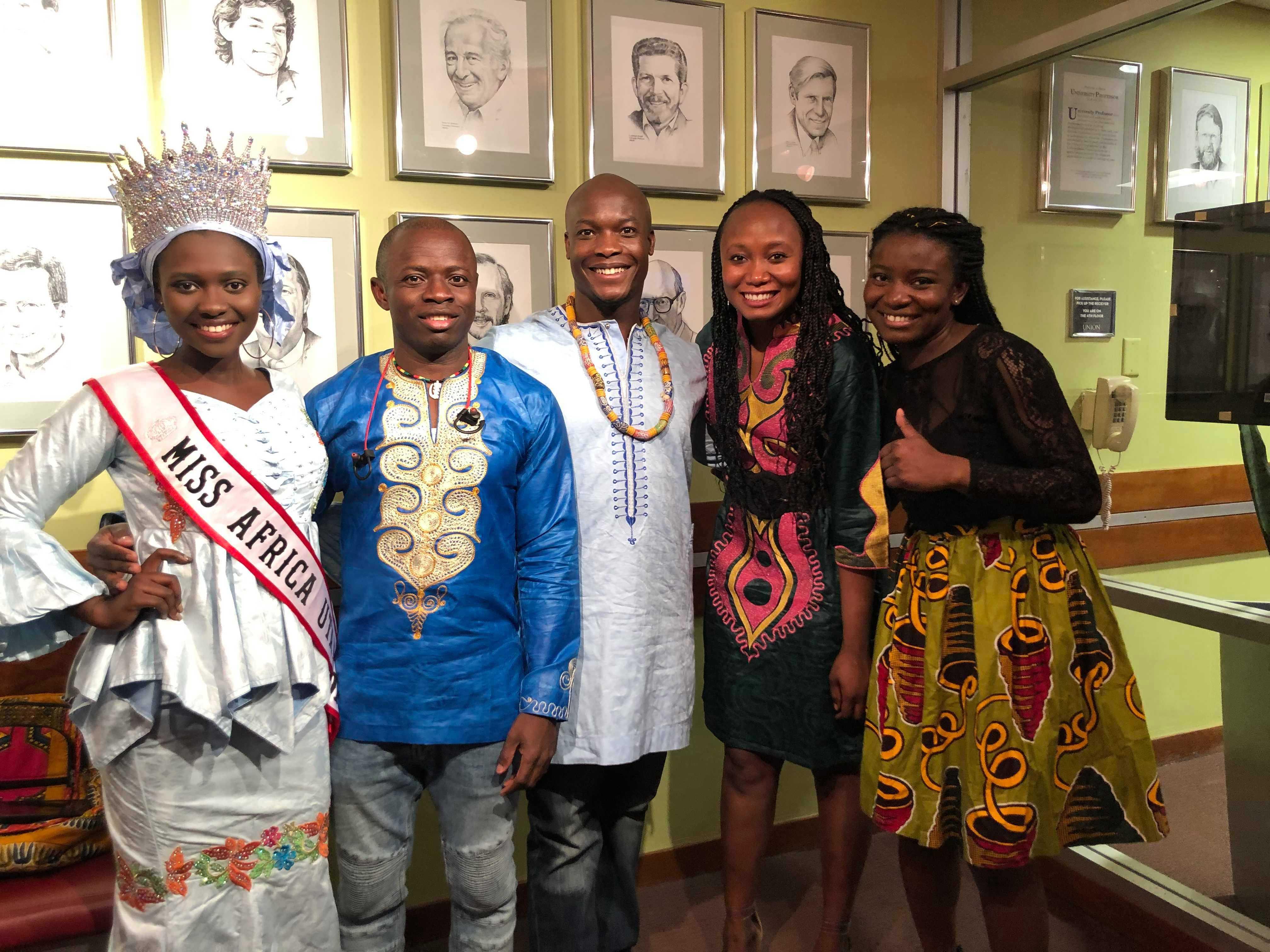 From left to right: Fatoumata Barrow, Maxwell Ayeliya, Christian Appiah-Knudsen, Madelaine Lamah, Naomi Baende at ASA African Night on Saturday, April 13, 2019 (Courtesy of Madelaine Lamah)