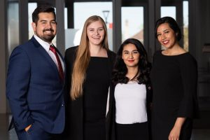 Vice President of Student Relations Gabe Martinez, Student Body President Anna Barnes, Vice President of University Relations Latifa Yaqoobi and Chief of Staff Amanda Carrasco (Courtesy of Anna Barnes)