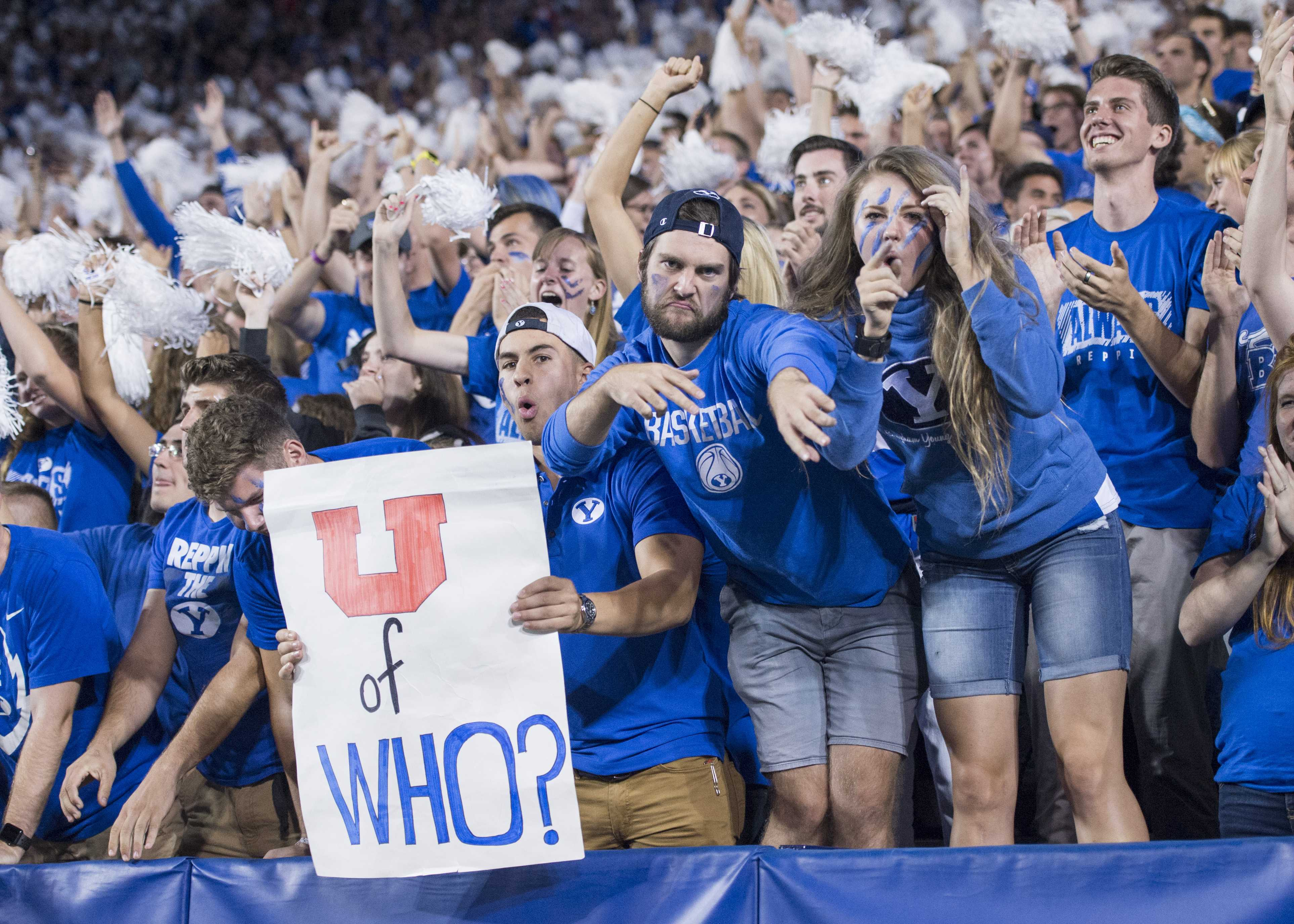 BYU students celebrate after a BYU touchdown vs. The University of Utah Utes in an NCAA football game at LaVell Edwards Stadium in Provo, Utah on Saturday, Sept. 9, 2017  (Photo by Kiffer Creveling | The Daily Utah Chronicle)