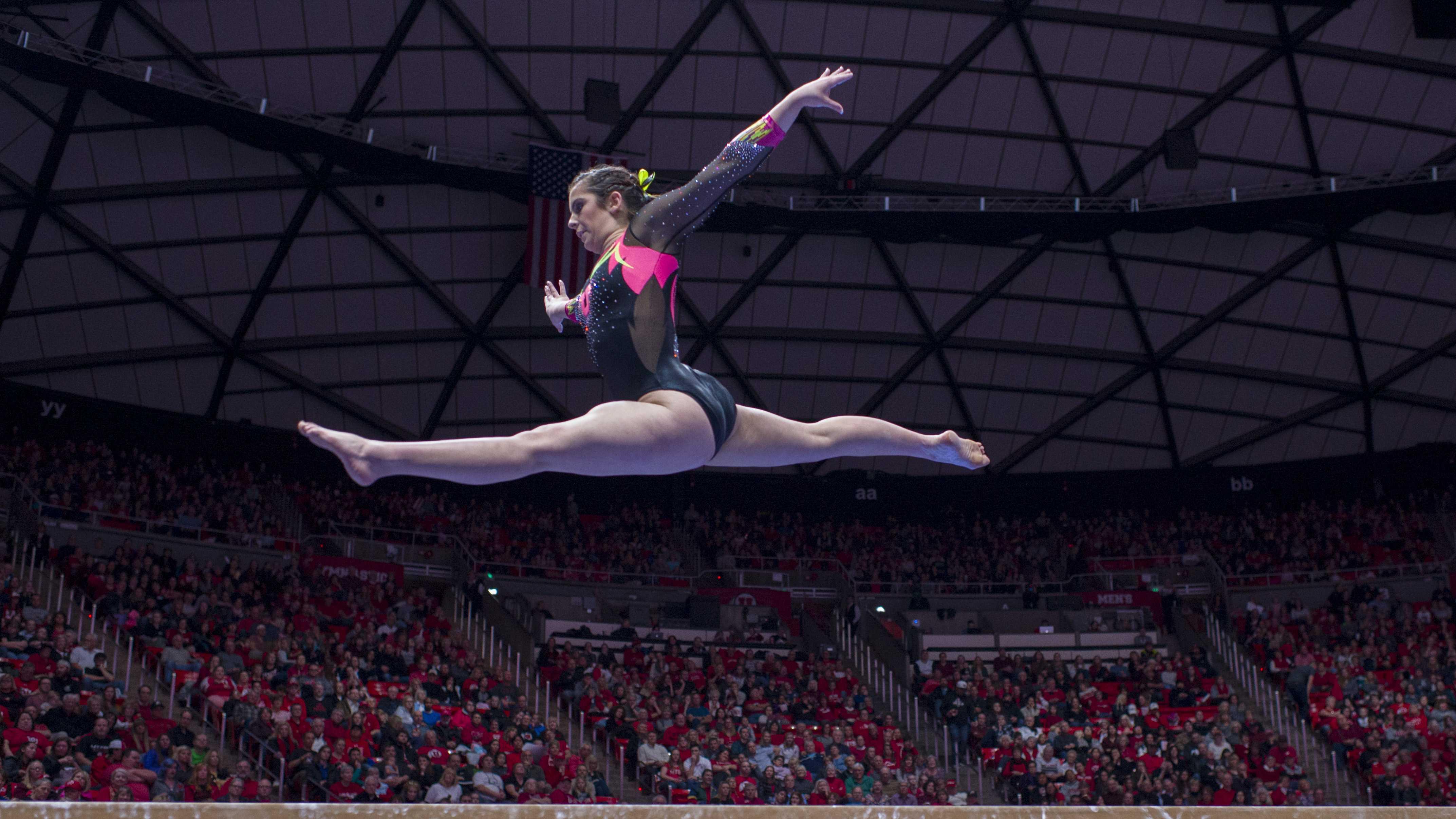 University of Utah women's gymnastics freshman Alexia Burch performs on the balance beam in a dual meet vs. The Oregon State Beavers at the Jon M. Huntsman Center in Salt Lake City, Utah on Friday, Jan. 19, 2018.  (Photo by Kiffer Creveling | The Daily Utah Chronicle)