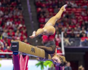 University of Utah women's gymnastics freshman Adrienne Randall performs on the balance beam in a dual meet vs. Penn State at the Jon M. Huntsman Center in Salt Lake City, Utah on Saturday, Jan. 5, 2019.  (Photo by Kiffer Creveling | The Daily Utah Chronicle)