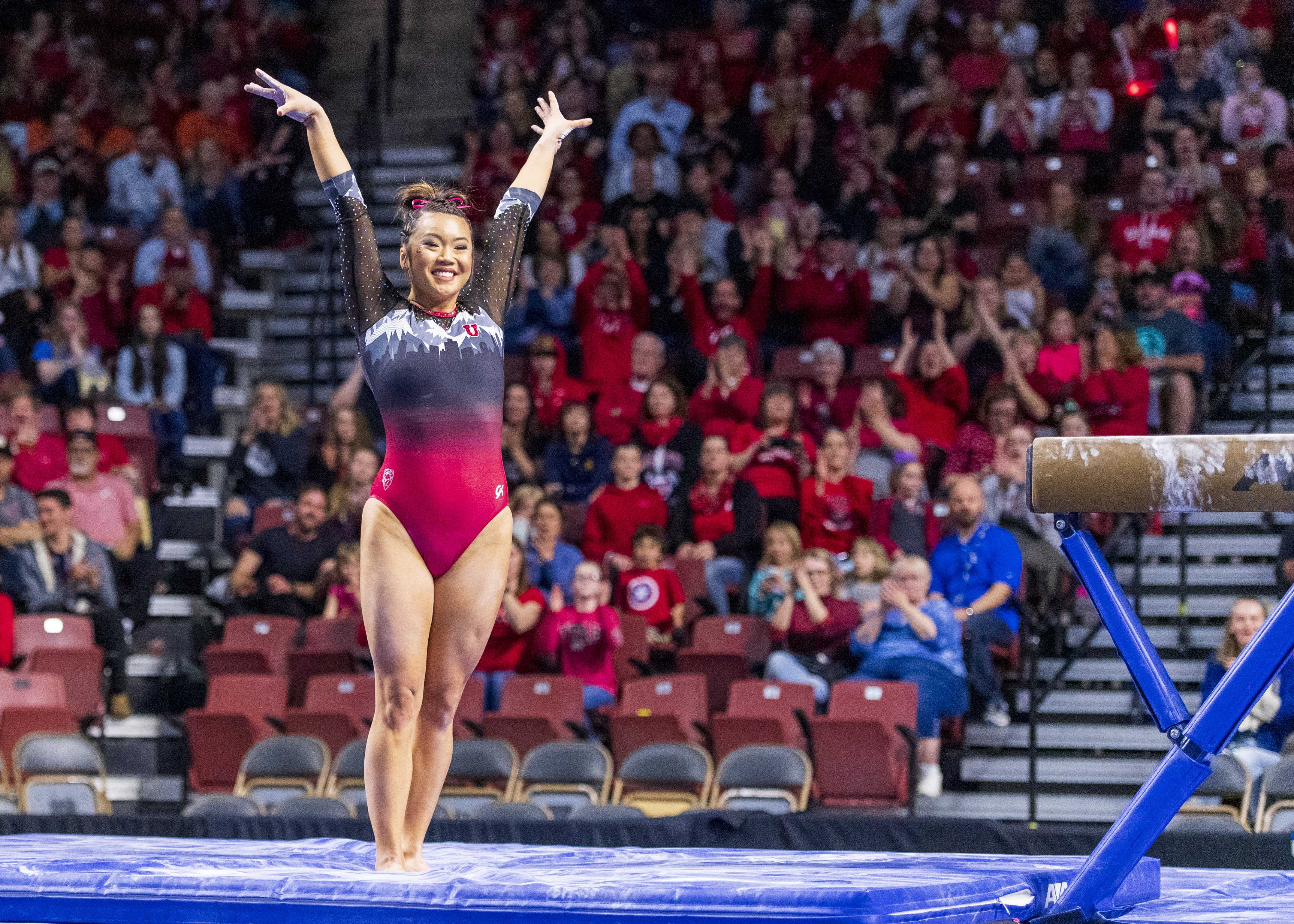 University of Utah women's gymnastics senior Kari Lee performs on the balance beam in the PAC 12 conference championship at the Maverik Center in Salt Lake City, Utah on Saturday, March 23, 2019.  (Photo by Kiffer Creveling | The Daily Utah Chronicle)