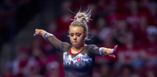 University of Utah women's gymnastics sophomore Sydney Soloski performs on the balance beam in the PAC 12 conference championship at the Maverik Center in Salt Lake City, Utah on Saturday, March 23, 2019. (Photo by Kiffer Creveling | The Daily Utah Chronicle)