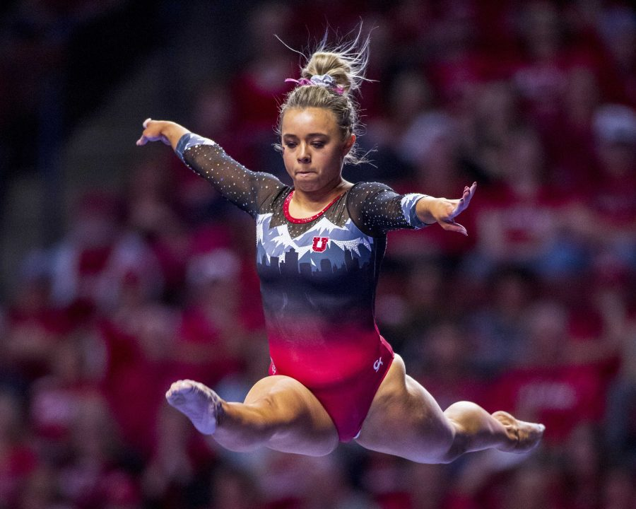 University of Utah womens gymnastics sophomore Sydney Soloski performs on the balance beam in the PAC 12 conference championship at the Maverik Center in Salt Lake City, Utah on Saturday, March 23, 2019. (Photo by Kiffer Creveling | The Daily Utah Chronicle)
