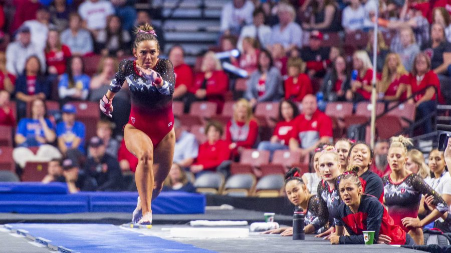 University+of+Utah+women%27s+gymnastics+freshman+Hunter+Dula+performs+on+the+vault+in+the+PAC+12+conference+championship+at+the+Maverik+Center+in+Salt+Lake+City%2C+Utah+on+Saturday%2C+March+23%2C+2019.++%28Photo+by+Kiffer+Creveling+%7C+The+Daily+Utah+Chronicle%29