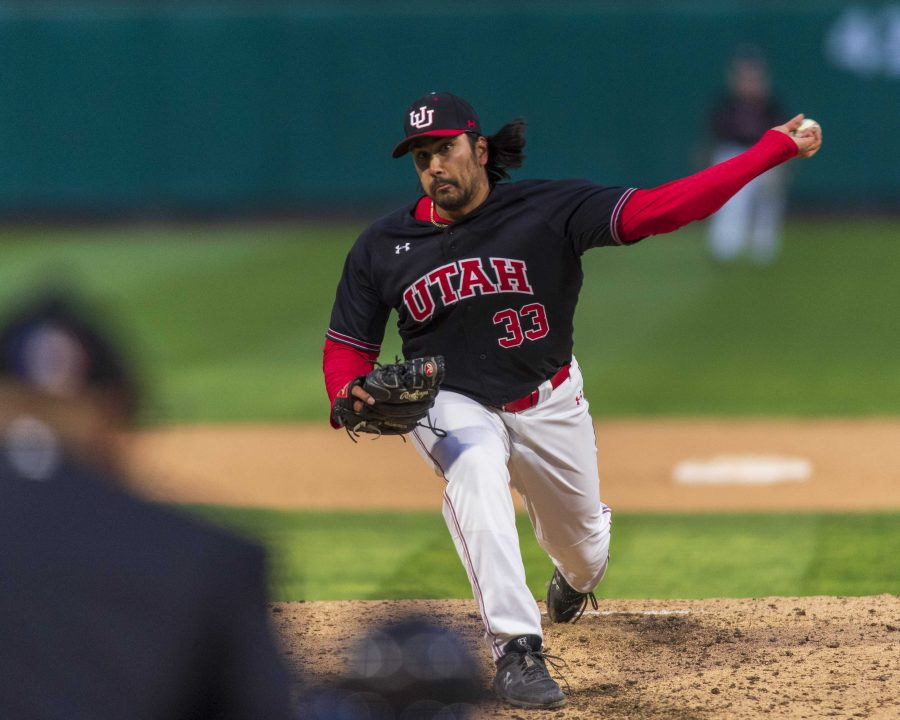 University+of+Utah+junior+left-handed+pitcher+Jacob+Rebar+%2833%29+pitches+during+an+NCAA+Baseball+game+at+the+Smith%27s+Ballpark+in+Salt+Lake+City%2C+Utah+on+Thursday%2C+April+11%2C+2019.+%28Photo+by+Kiffer+Creveling+%7C+The+Daily+Utah+Chronicle%29