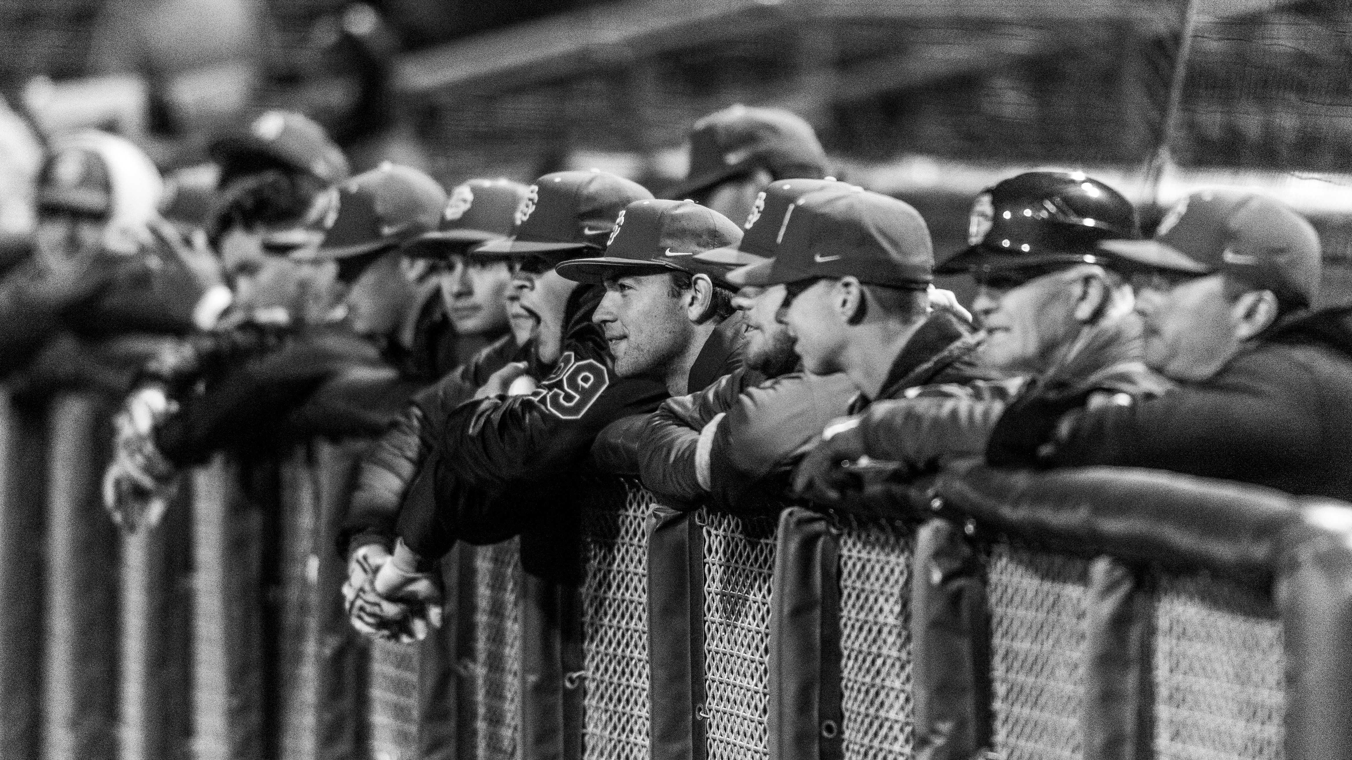 The USC dugout during an NCAA Baseball game at the Smith's Ballpark in Salt Lake City, Utah on Thursday, April 11, 2019. (Photo by Kiffer Creveling | The Daily Utah Chronicle)