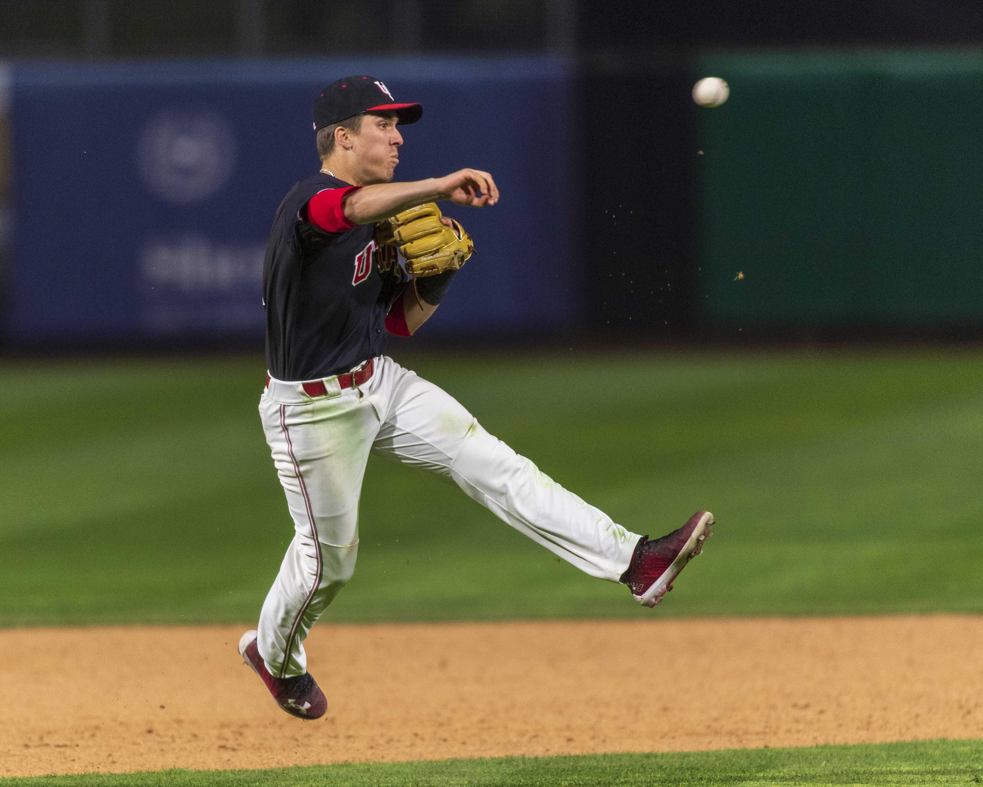 University of Utah sophomore infielder Matt Richardson (4) throws to first during an NCAA Baseball game at the Smith's Ballpark in Salt Lake City, Utah on Thursday, April 11, 2019. (Photo by Kiffer Creveling   The Daily Utah Chronicle)