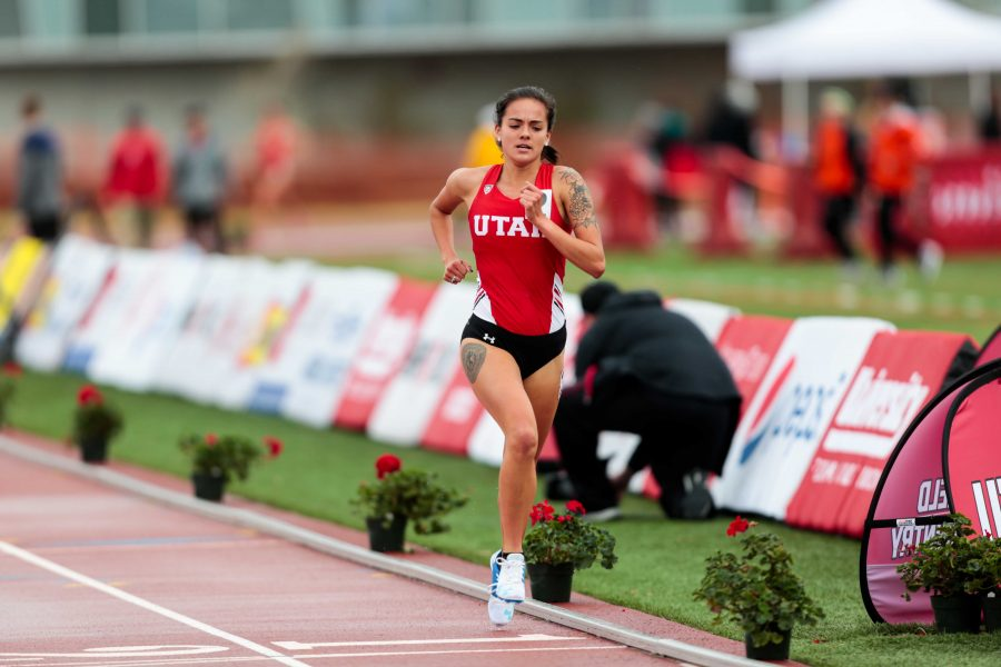University of Utah sophomore distance runner Trina Moreno runs the 3000 meter run as The University of Utah and Weber State host the Utah Spring Classic at the McCarthey Family Track and Field Complex in Salt Lake City, UT on Friday April 06, 2018.  (Photo by Curtis Lin/ Daily Utah Chronicle)