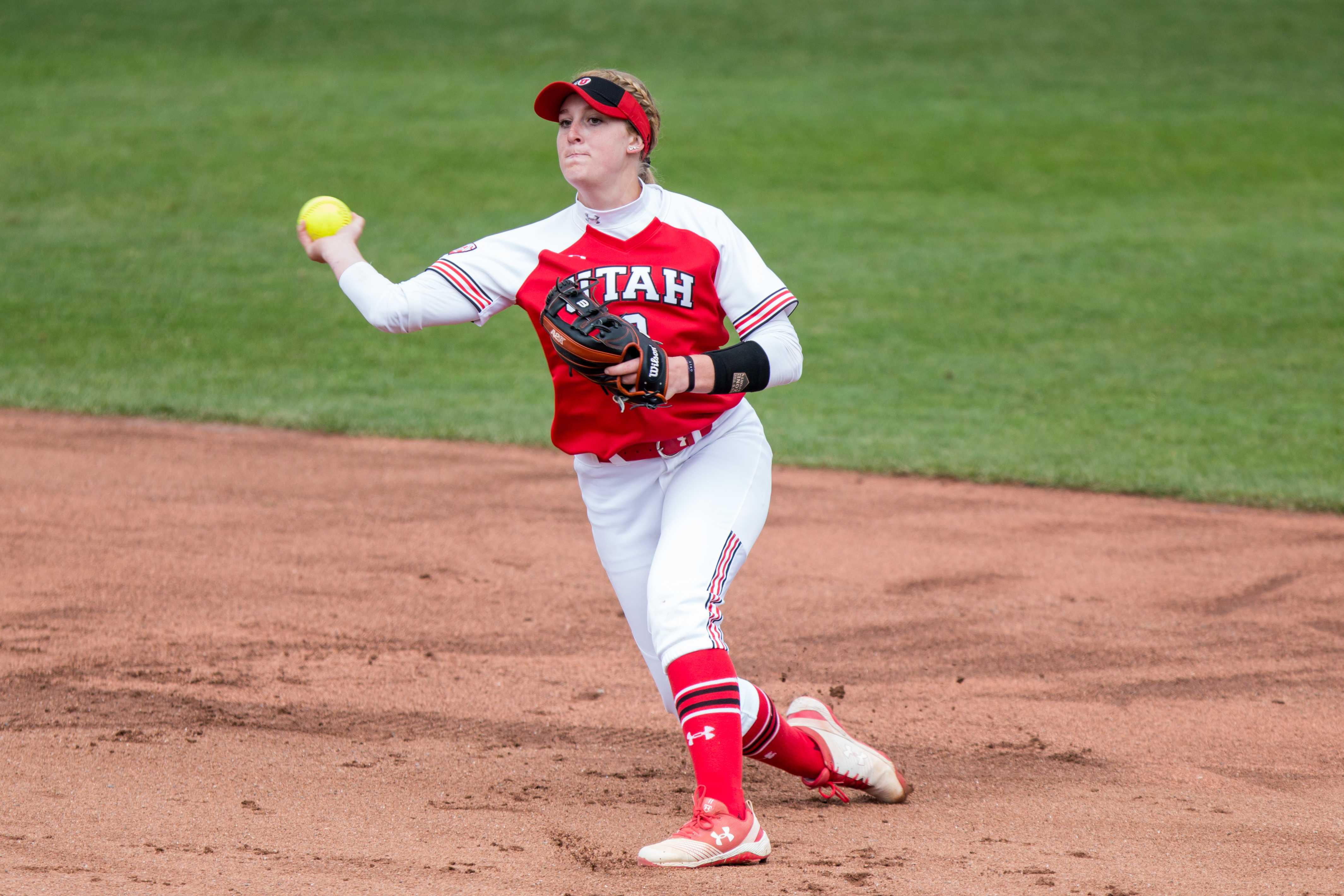 University of Utah freshman utility Ellessa Bonstrom (2) threw the ball to a teammate prior to the start of the game in an NCAA Softball game vs. Arizona at Dumke Family Softball Field in Salt Lake City, UT on Saturday April 06, 2019.  (Photo by Curtis Lin | Daily Utah Chronicle)