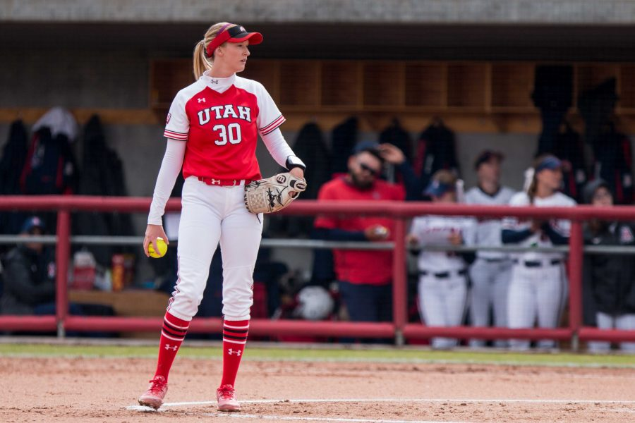 University of Utah senior pitcher Hailey Hilburn (30) looked at home plate in an NCAA Softball game vs. Arizona at Dumke Family Softball Field in Salt Lake City, UT on Saturday April 06, 2019.  (Photo by Curtis Lin | Daily Utah Chronicle)