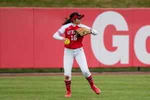 University of Utah junior outfielder Alyssa Barrera (16) threw the ball in an NCAA Softball game vs. Arizona at Dumke Family Softball Field in Salt Lake City, UT on Saturday April 06, 2019.  (Photo by Curtis Lin | Daily Utah Chronicle)