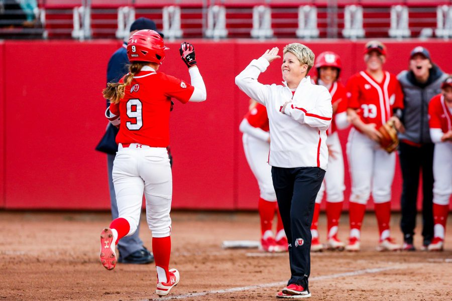 University+of+Utah+Softball+team+celebrate+after+a+homer+by+sophomore+infielder+Ryley+Ball+%289%29+during+an+NCAA+Softball+game+vs+the+BYU+Cougars+at+Dumke+Family+Softball+Stadium+in+Salt+Lake+City%2C+UT+on+Wednesday+April+18%2C+2018.%0A%0A%28Photo+by+Curtis+Lin+%7C+Daily+Utah+Chronicle%29