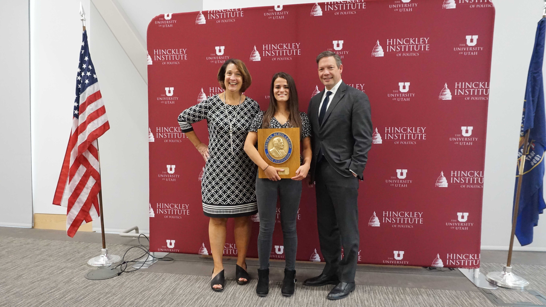 University of Utah President Ruth Watkins, Truman Scholarship Recipient Samantha Thorne and Hinckely Institute of Politics Director Jason Perry (Courtesy of Samantha Thorne)