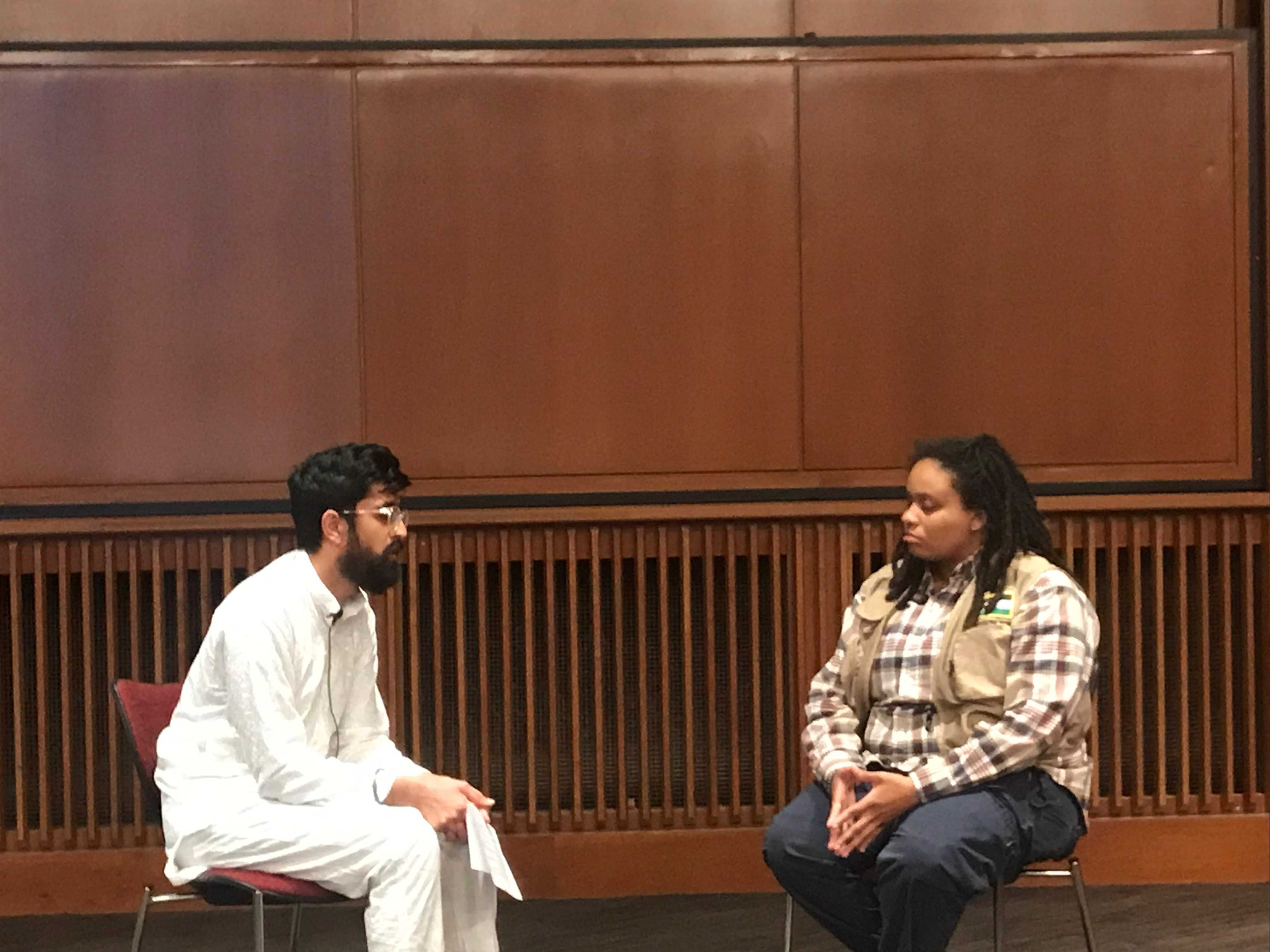 """Puneet Singh and activist Takiyah Thompson at ASUU Diversity Board event, """"United Against White Supremacy"""