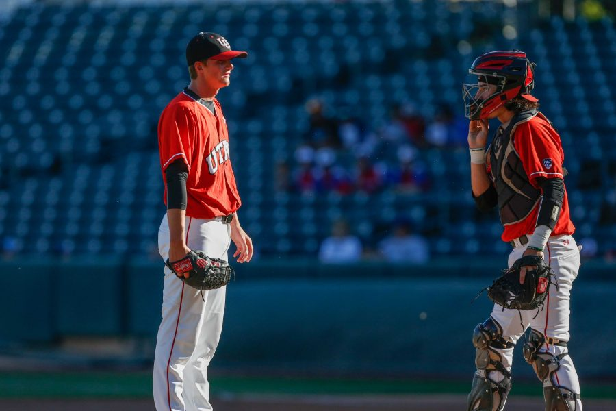 Catcher+Shea+Kramer+%2826%29+talks+with+pitcher+Riley+Pierce+%2810%29+on+the+mound+as+Utes+Baseball++takes+on+BYU+Cougars+at+Smith%27s+Ballpark+May+8%2C+2018.%0A%0A%28Photo+by%3A+Justin+Prather+%2F+Daily+Utah+Chronicle%29.