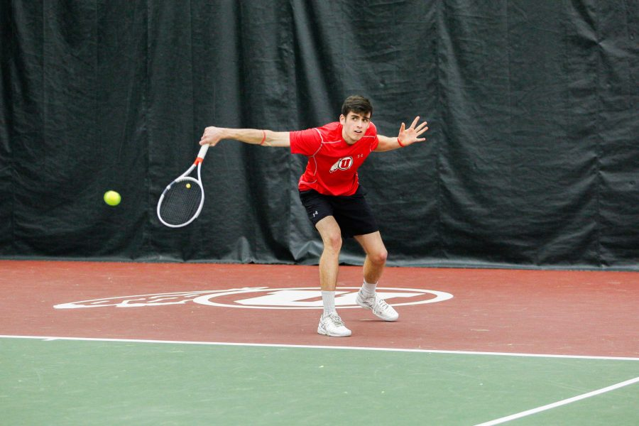The Utes Men's tennis team hit the courts against the University of Montana's Grizzlies this Saturday Feb. 19.  Ute's Dan Little returns a shot Victor Casadevall.  (Photo by: Justin Prather / Daily Utah Chronicle)