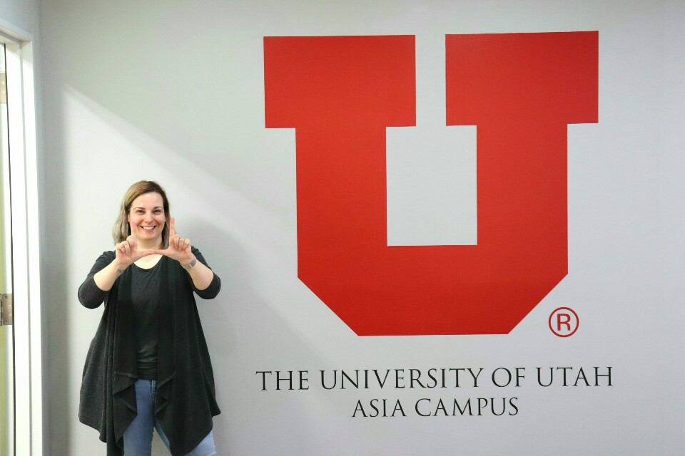 Nicole Pankiewicz poses for a photo after the interview on April 26, 2019 at the University of Utah Asia Campus. (Photo by Mitch Shin | The Daily Utah Chronicle)