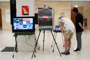 "Students observe the ""Synthetic Spotlight"" social experiment"