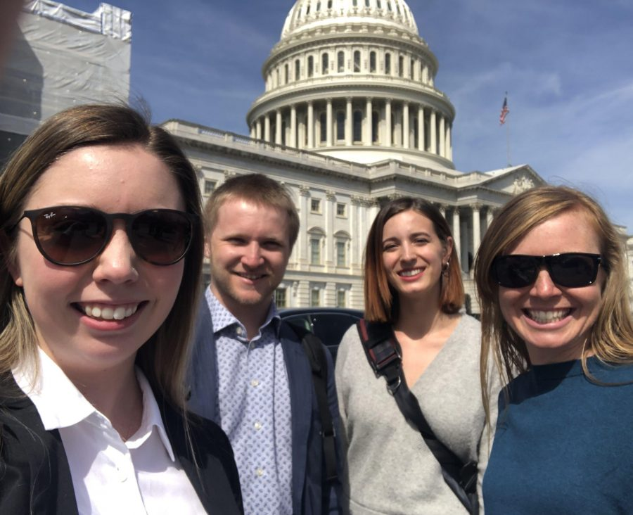 (from left to right) Kendall FitzGerald, Kaden Plewe, Rebecca Hardenbrook, and Jewell Lund in front of the United States Capitol Building, one of the several sights in between the Senate and House building on Capitol Hill. (Photo courtesy of Rebecca Hardenbrook)