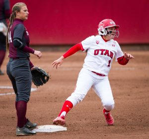 University of Utah Women's Softball Team senior second baseman Hannah Flippen (1) stops at second base in an NCAA Regional Game vs. The Fordam Rams at Dumke Family Softball Stadium, Salt Lake City, UT on Thursday, May 18, 2017  (Photo by Adam Fondren | The Daily Utah Chronicle)