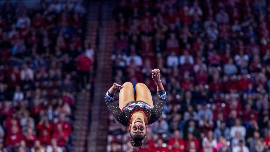 University of Utah women's gymnastics senior Macey Roberts performs on the floor in the PAC 12 conference championship at the Maverik Center in Salt Lake City, Utah on Saturday, March 23, 2019.  (Photo by Kiffer Creveling | The Daily Utah Chronicle)